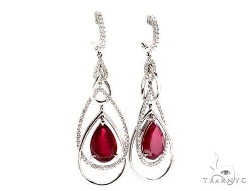 Prong Diamond Ruby Earrings 42424 Stone