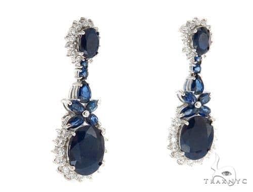 Prong Diamond Sapphire Earrings 42431 Stone