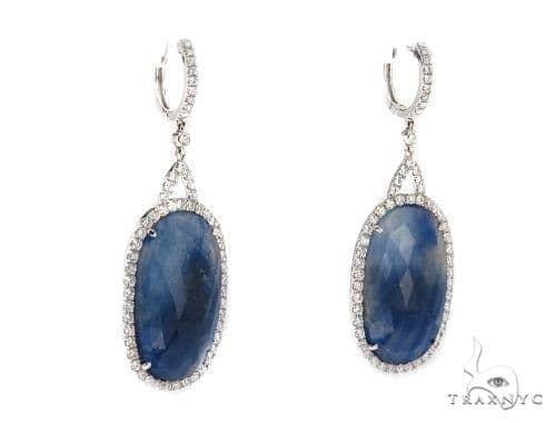 Prong Diamond & Sapphire Earrings 42438 Stone