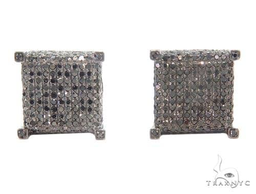 Prong Black Diamond Cube Earrings 43911 Style