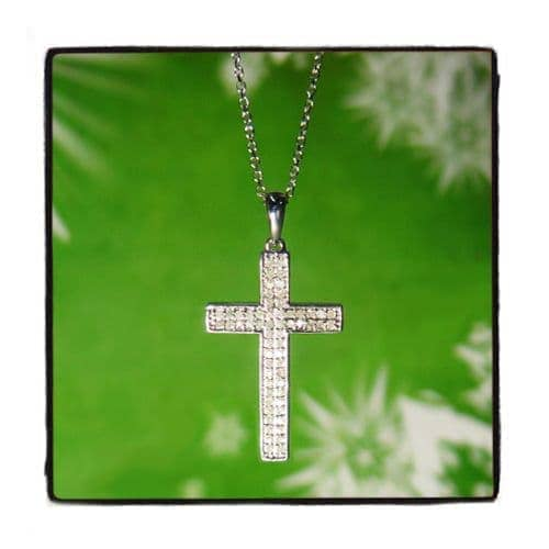 Prong Diamond Cross Necklace 44309 Diamond Cross Pendants