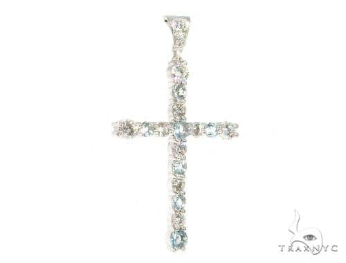 Prong Diamond Aquamarine Cross 44532 Diamond