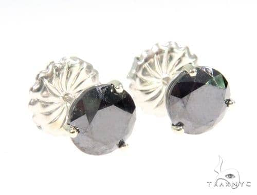 Prong Black Diamond Stud Earrings 44528 Stone