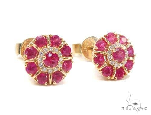 Pink Ruby Diamond Earrings 44697 Stone
