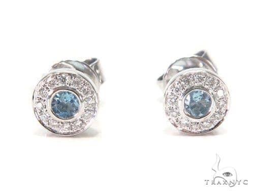 Halo Stud Gemstone Diamond Earrings 44699 Stone
