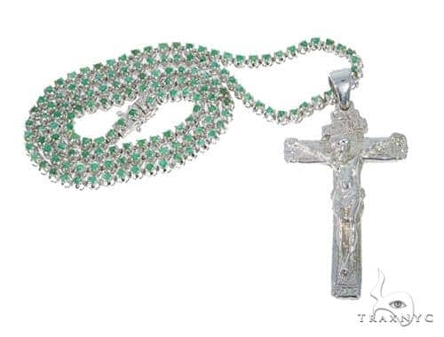 Cross Emerald Gemstone Silver Chain 30 Inches 5mm 55 Grams 44842 Silver