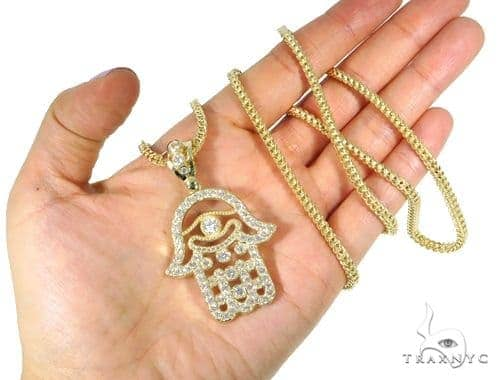Large hamsa pendant 26 inch franco chain set 45002 mens metal yellow mens diamond jewelry mens pendants metal large hamsa pendant 26 inch franco chain set 45002 mozeypictures Images