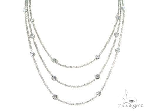 Three Layers Bezel Diamond Necklace 45313 Diamond