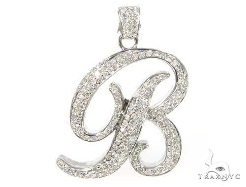 real b pnd pendant gold letter genuine yellow initial diamond ct unisex