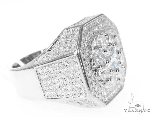 Silver CZ Men's Flower Ring 49033 Metal
