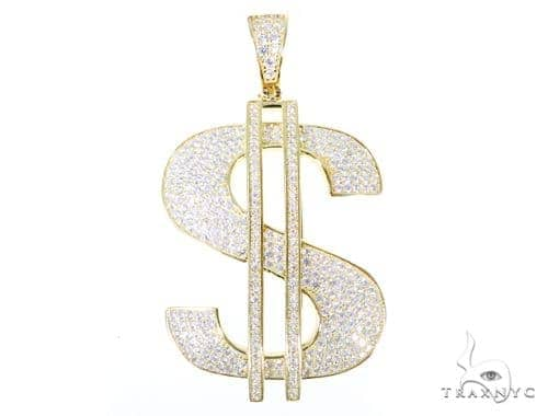 Silver CZ Dollar Sign Pendant 49038 Metal