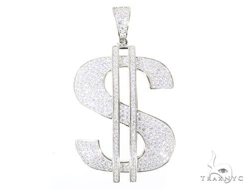 Silver CZ Dollar Sign Pendant 49039 Metal
