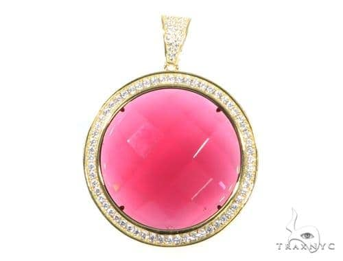 Silver CZ Red Round Gemstone  Pendant 49014 Metal