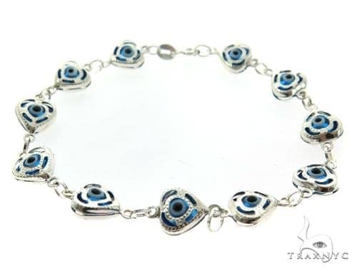 Silver CZ  Evil Eye Heart Bracelet 43242 Silver & Stainless Steel
