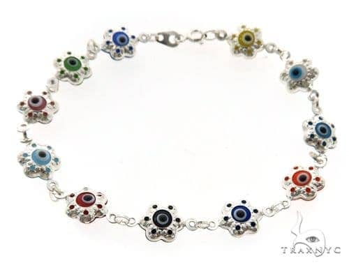 Silver CZ  Evil Eye Flower Bracelet 43243 Silver & Stainless Steel