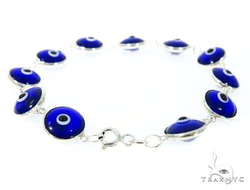 Silver CZ  Evil Eye Bracelet 43248 Silver & Stainless Steel