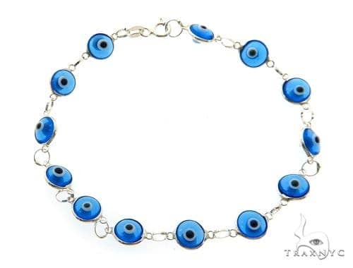 Silver CZ  Evil Eye Bracelet 43250 Silver & Stainless Steel