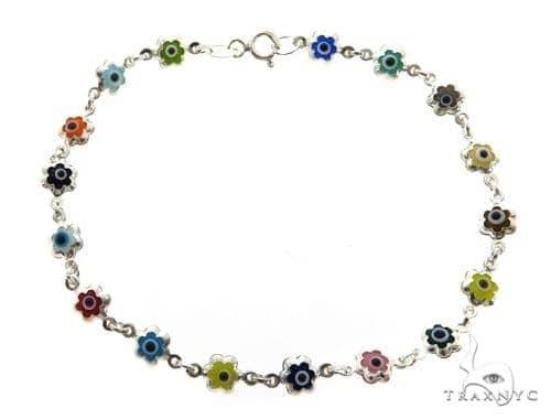 Silver CZ  Evil Eye Flower Bracelet 43253 Silver & Stainless Steel