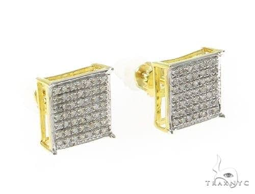 Prong Diamond Silver Earrings 49370 Metal