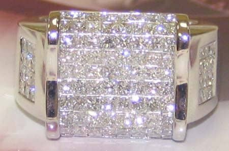 LS Ring Mens Hip Hop Ring Gold 14k Princess Cut 5 90 ct