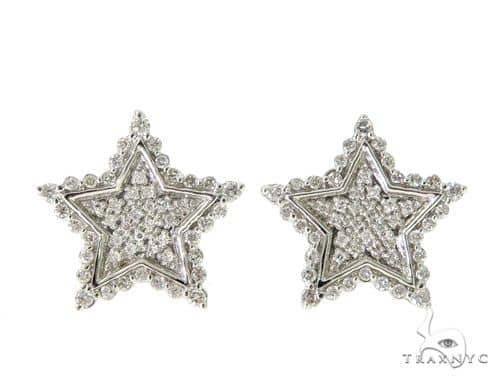 14K White Gold Prong Diamond Starstruck Earrings 56761 Stone