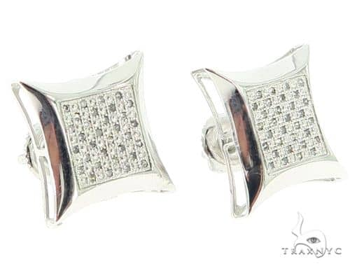Silver Prong Diamond Square Earrings 56769 Stone