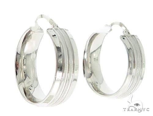 14K White Gold Hoop Earrings 56807 Metal