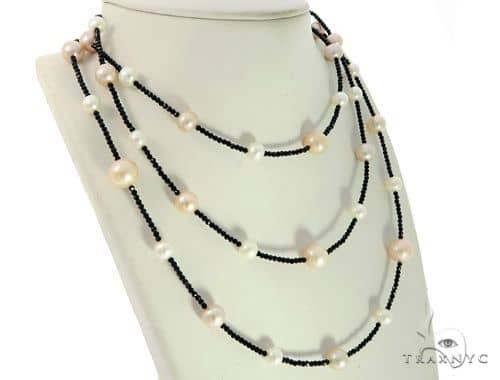 Fresh Water Pearl and Onyx Necklace 45608 Pearl