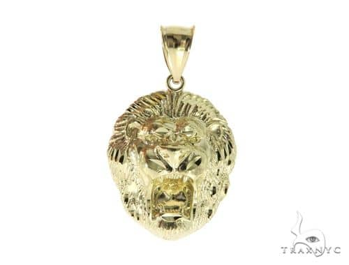 10K Yellow Gold Lion Head Pendant 56882 Metal