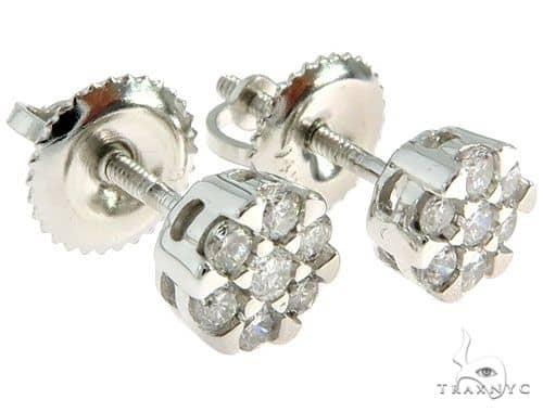 14K White Gold Prong Diamond Cluster Earrings 57046 Stone