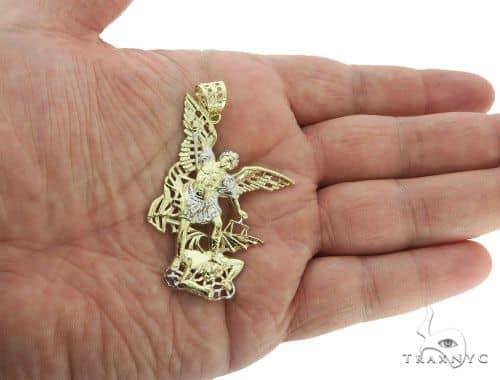 10k gold saint michael pendant 57052 mens metal two tone gold 10k mens diamond jewelry mens pendants metal 10k gold saint michael pendant 57052 aloadofball Images