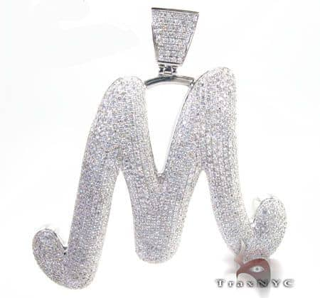 Mens Diamond Jewelry Pendants Metal Initial M Pendant 5359