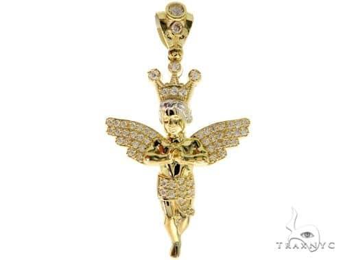 10k Yellow Gold Crown Angel Pendant 44225 Metal