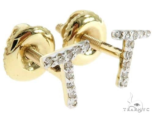 Prong Diamond Initial 'T' Earrings 57143 Stone