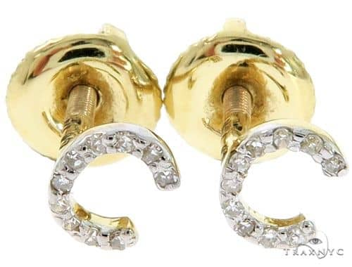 Prong Diamond Initial 'C' Earrings 57145 Stone