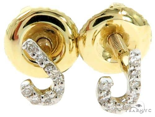 Prong Diamond Initial 'J' Earrings 57157 Stone