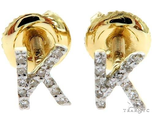 Prong Diamond Initial 'K' Earrings 57159 Stone