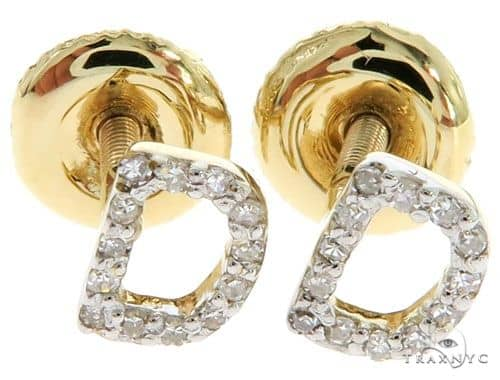 Prong Diamond Initial 'D' Earrings 57161 Stone