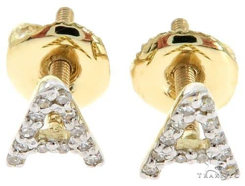 Prong Diamond Initial 'A' Earrings 57167 Stone