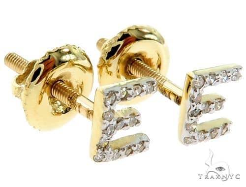 Prong Diamond Initial 'E' Earrings 57168 Stone
