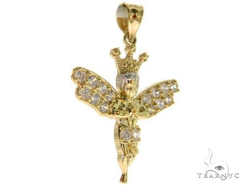 10K Gold Crowned Angel Pendant 49975 Style