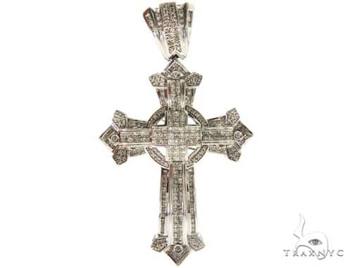 14K White Gold Round Princess Cut Diamond Cross 57214 Diamond