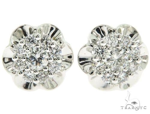 14K White Gold Prong Diamond Cluster Stud Earrings 57218 Stone