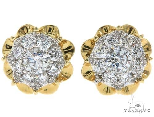 14K Yellow Gold Prong Diamond Cluster Stud Earrings 57220 Stone
