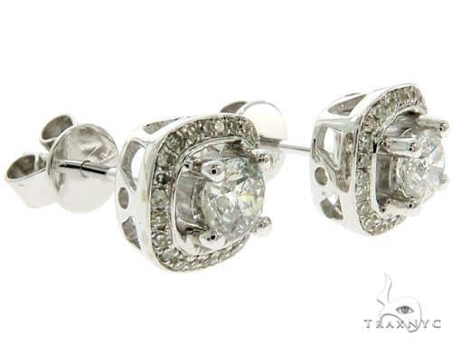 14K White Gold Prong Diamond Cluster Stud Earrings 57221 Stone
