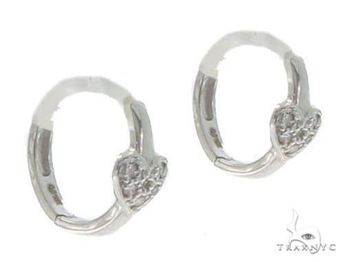 14KW Heart Hoop Earrings 57311 Stone