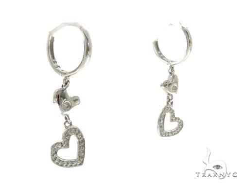 14KW Heart Hoop Earrings 57313 Stone