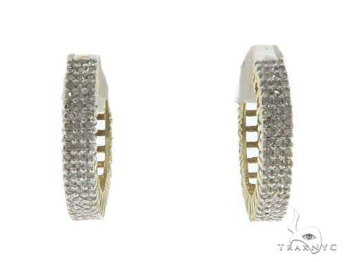10KY Prong Diamond Hoop Earrings 57314 Stone