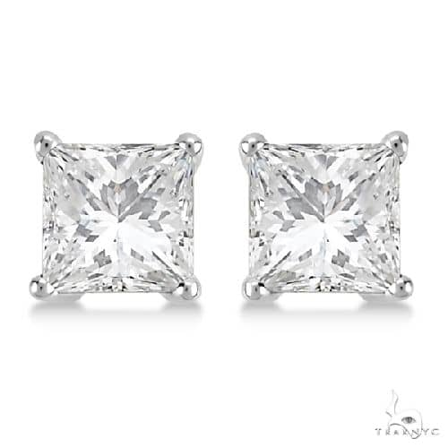 Princess Diamond Stud Earrings 14kt White Gold H-I, SI2-SI3 Stone