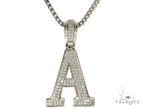 CZ Silver Initial(A) Pendant 24 Inches Franco Chain Set 58469 Metal